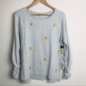 Crown & Ivy Gold Medallion Sequin Knit Top Small